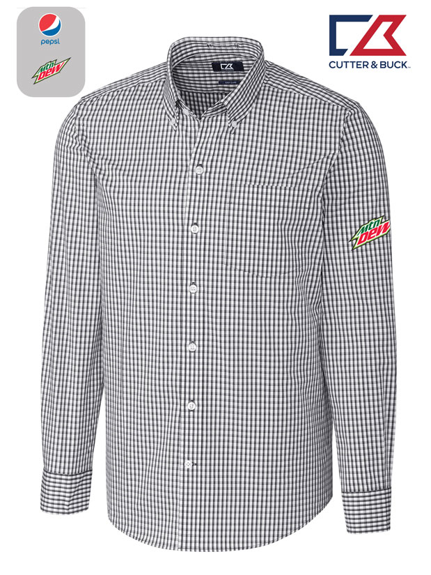 Cutter & Buck Men's L/S Tailored Fit Stretch Gingham Shirt