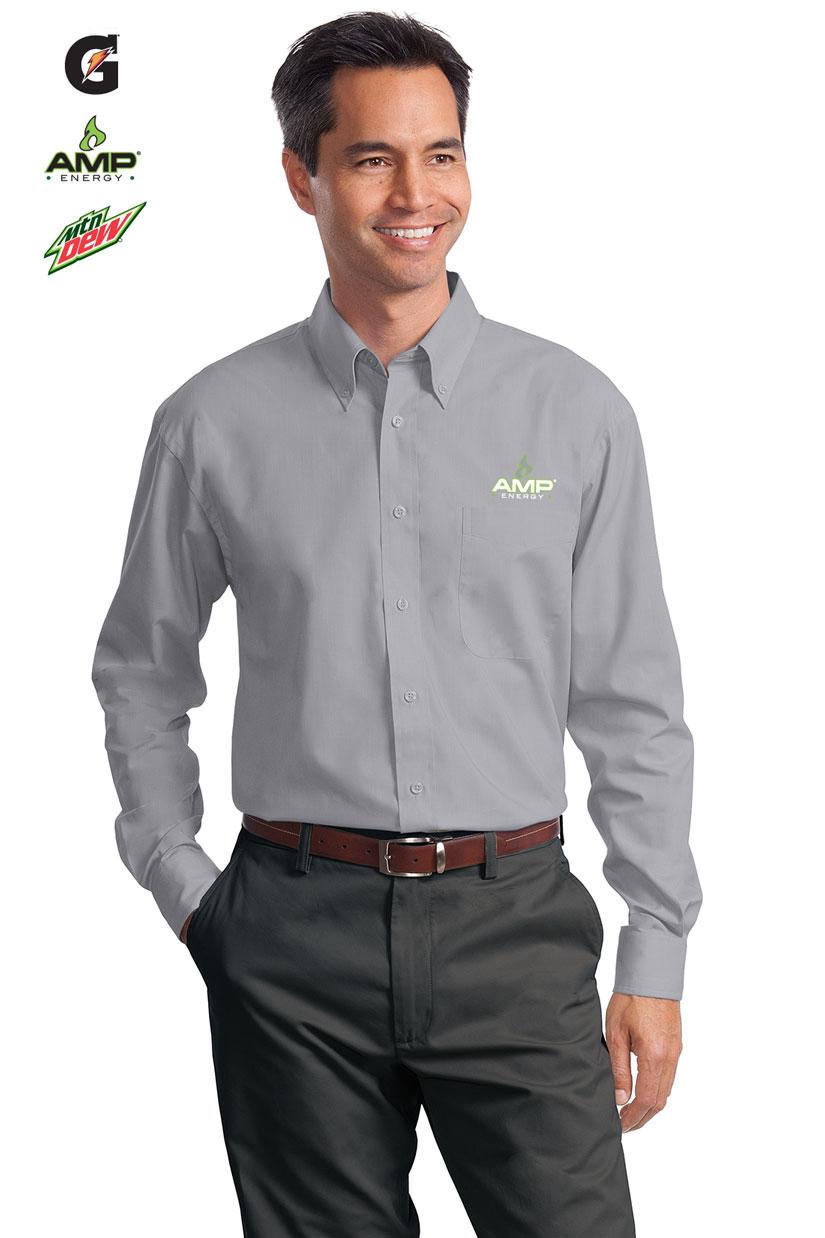 Men 39 s long sleeve value poplin shirt for Long sleeve poplin shirt