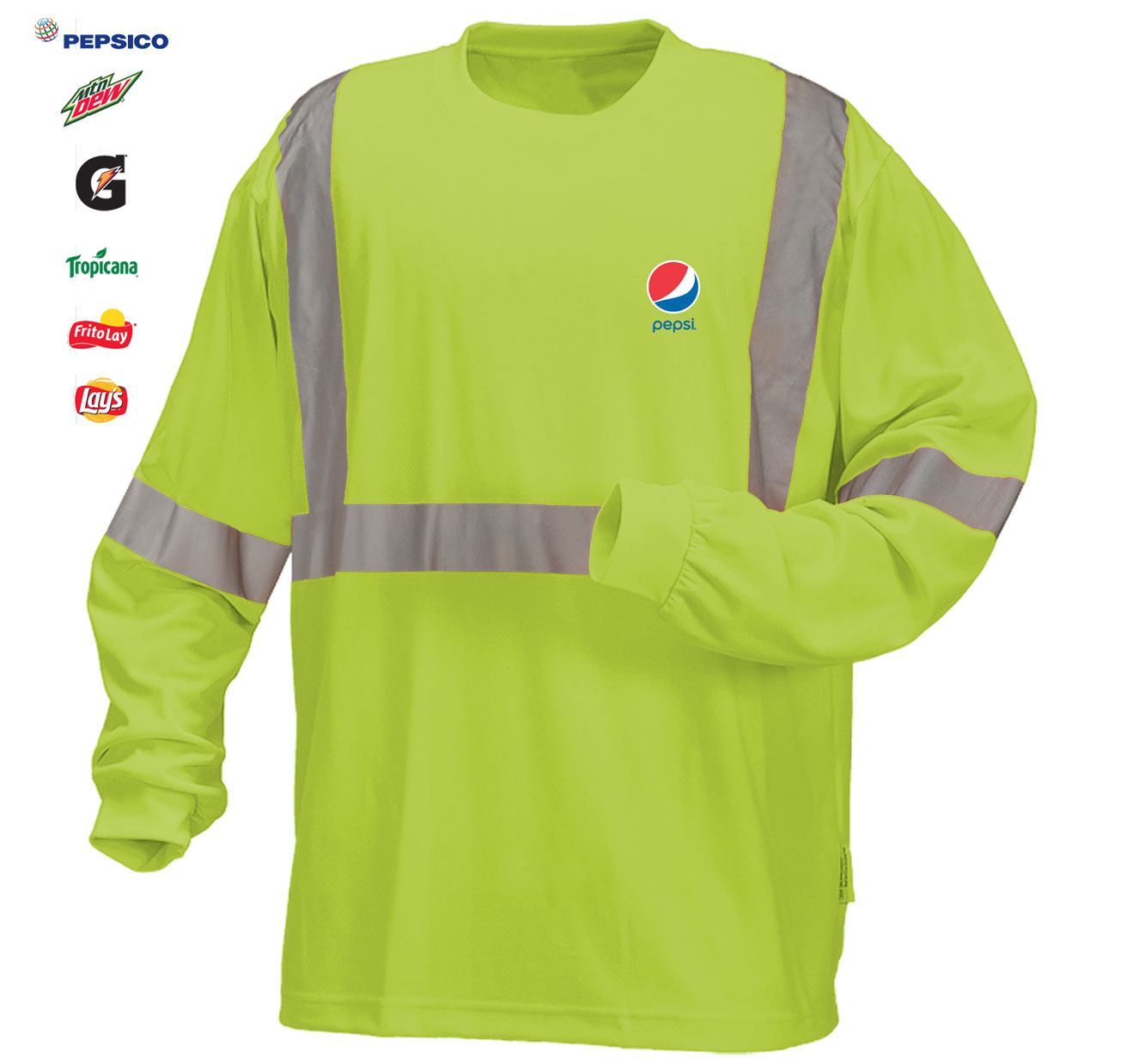 High Visibility 100 Polyester Wicking Long Sleeve T Shirt