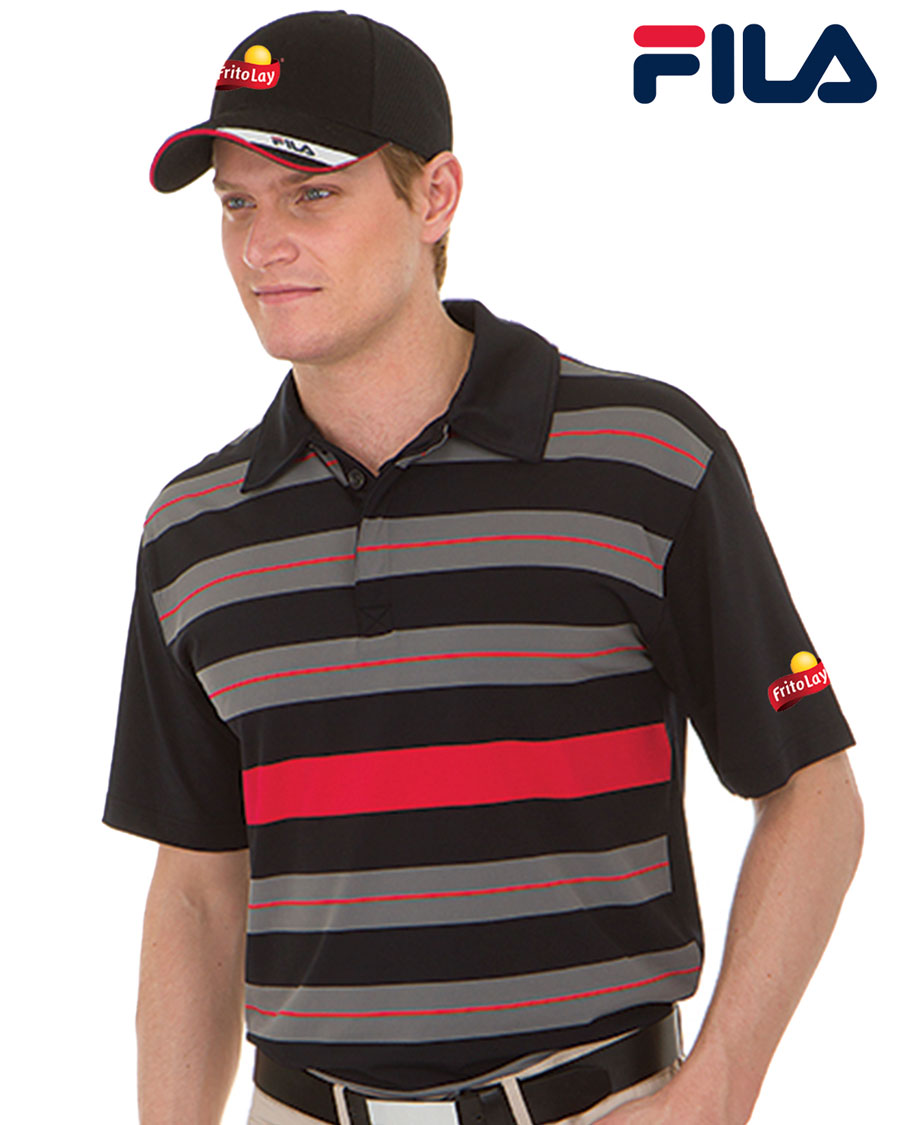 FILA Men's Bristol Engineered Striped Polo - Fritolay