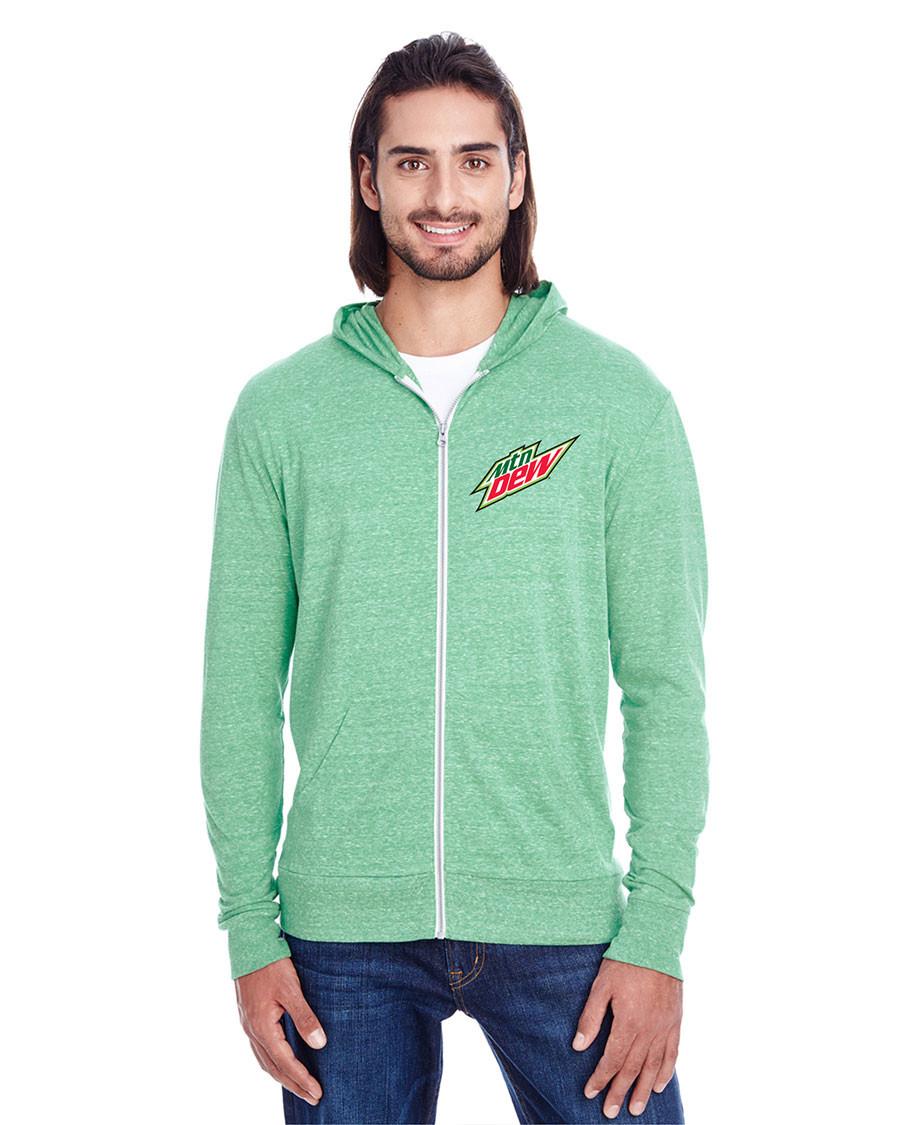 Unisex Triblend Full-Zip Light Hoodie - MTN Dew
