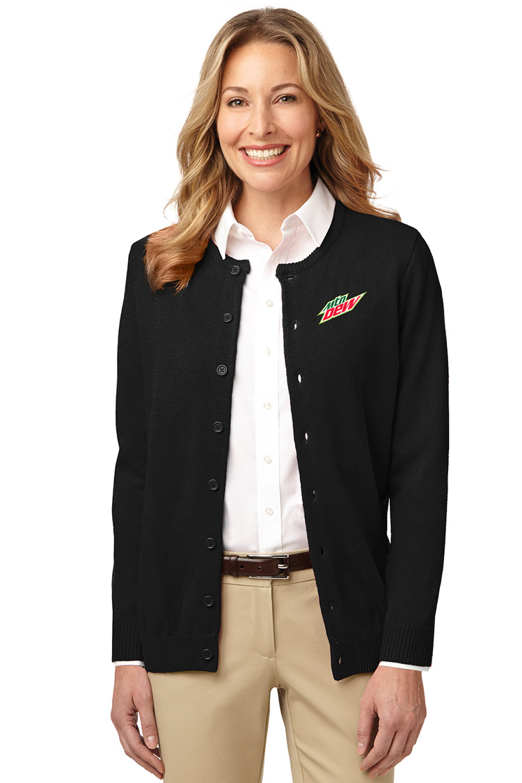 Ladies' Value Jewel-Neck Cardigan Sweater - MTN Dew