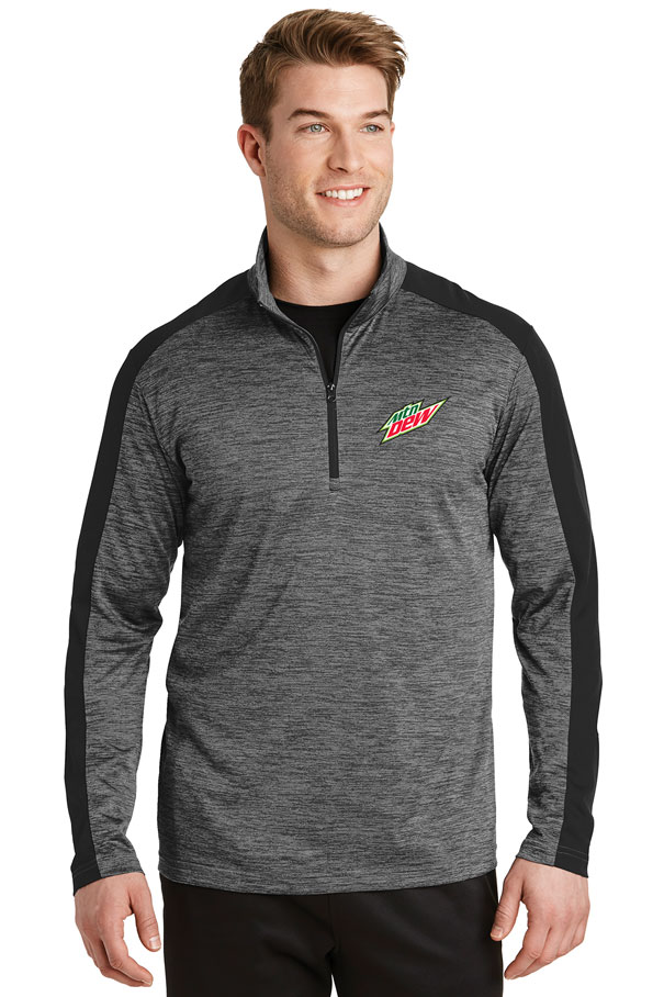 Men's PosiCharge® Electric Heather Colorblock 1/4-Zip Pullover - MTN Dew