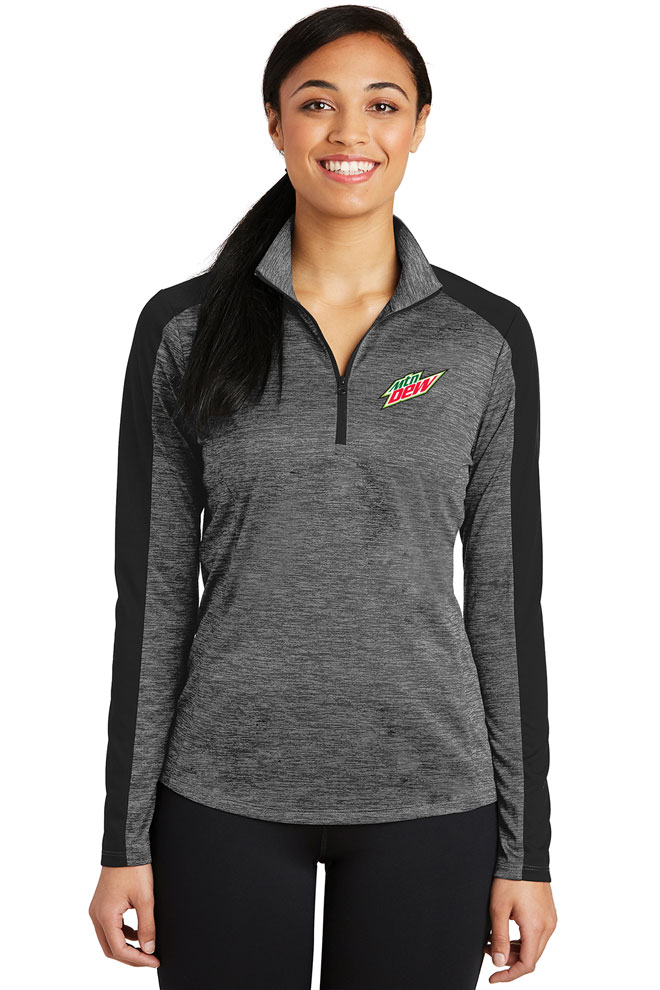 Ladies PosiCharge® Electric Heather Colorblock 1/4-Zip Pullover - MTN Dew