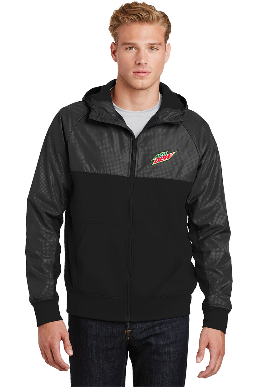 Men's Embossed Hybrid Full-Zip Hooded Jacket - MTN Dew
