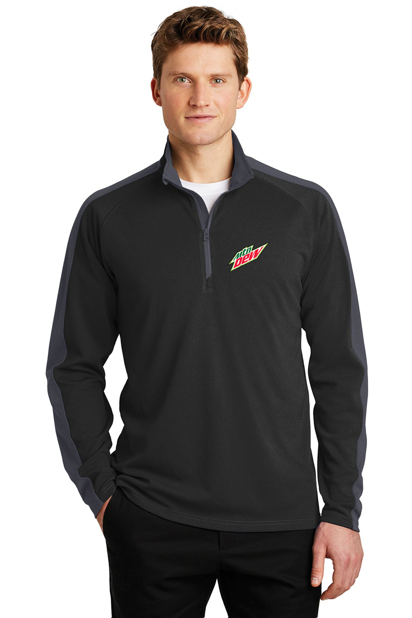 Men's Sport-Wick® Textured Colorblock 1/4-Zip Pullover - MTN Dew
