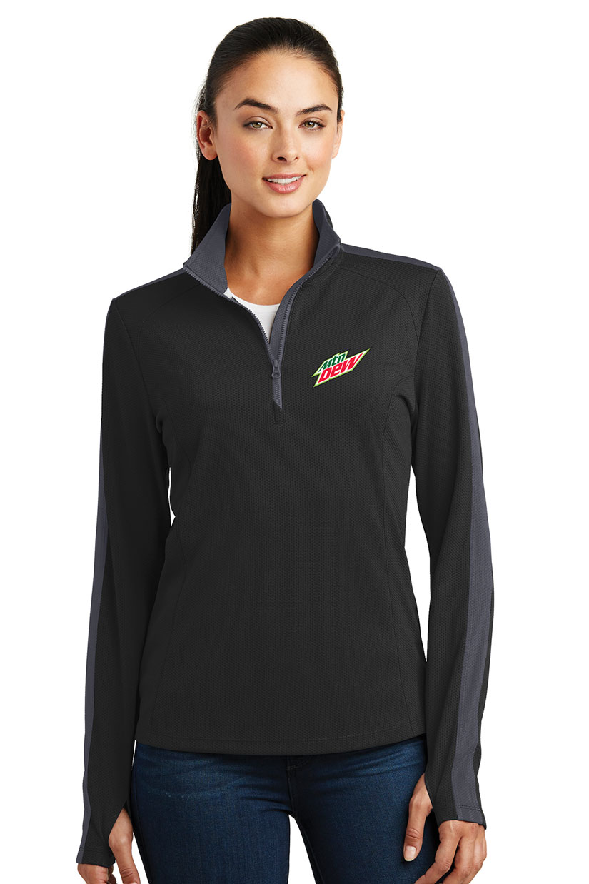 Ladies' Sport-Wick® Textured Colorblock 1/4-Zip Pullover - MTN Dew