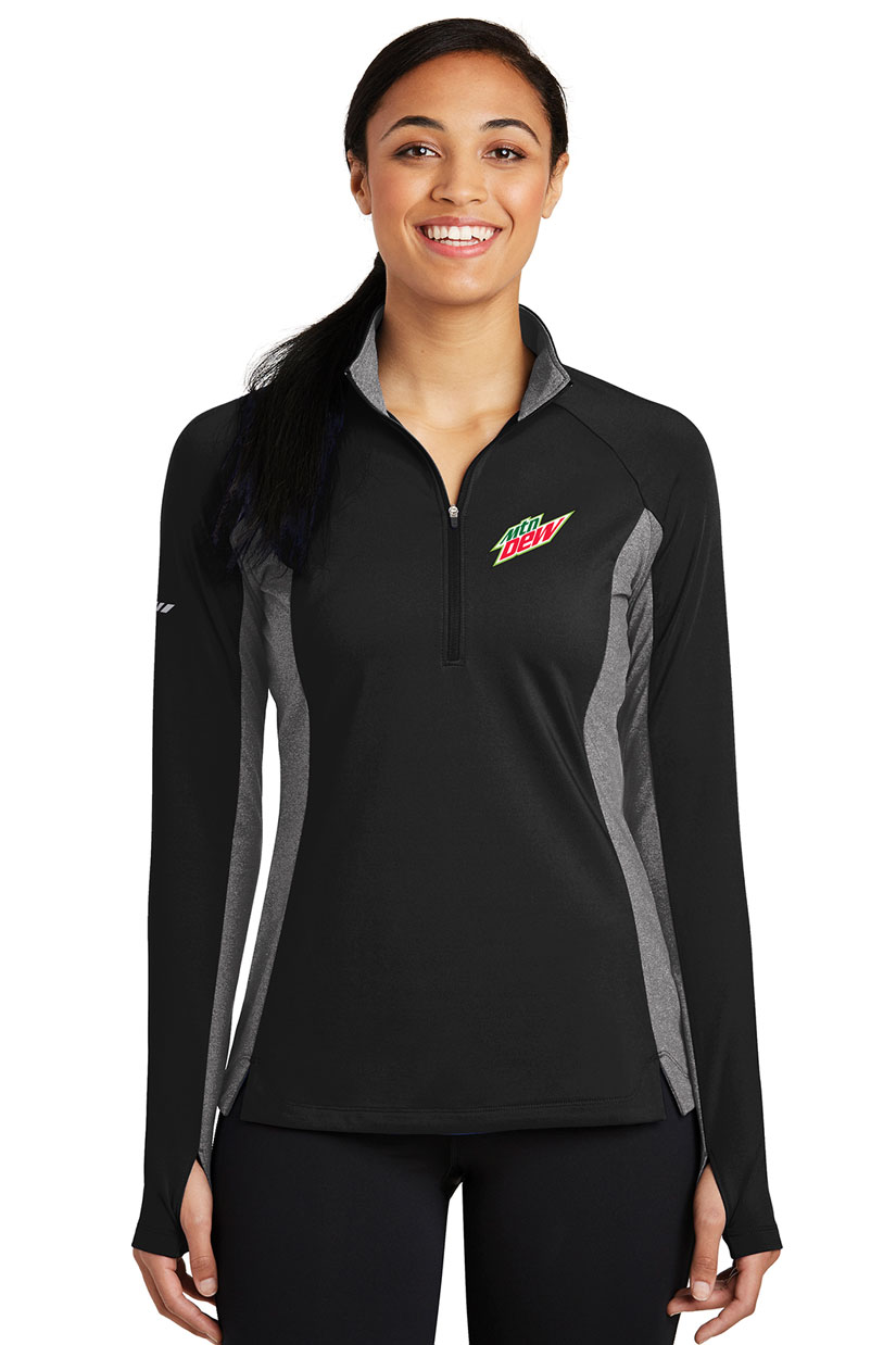 Ladies Sport-Wick® Stretch Contrast 1/2-Zip Pullover - MTN Dew