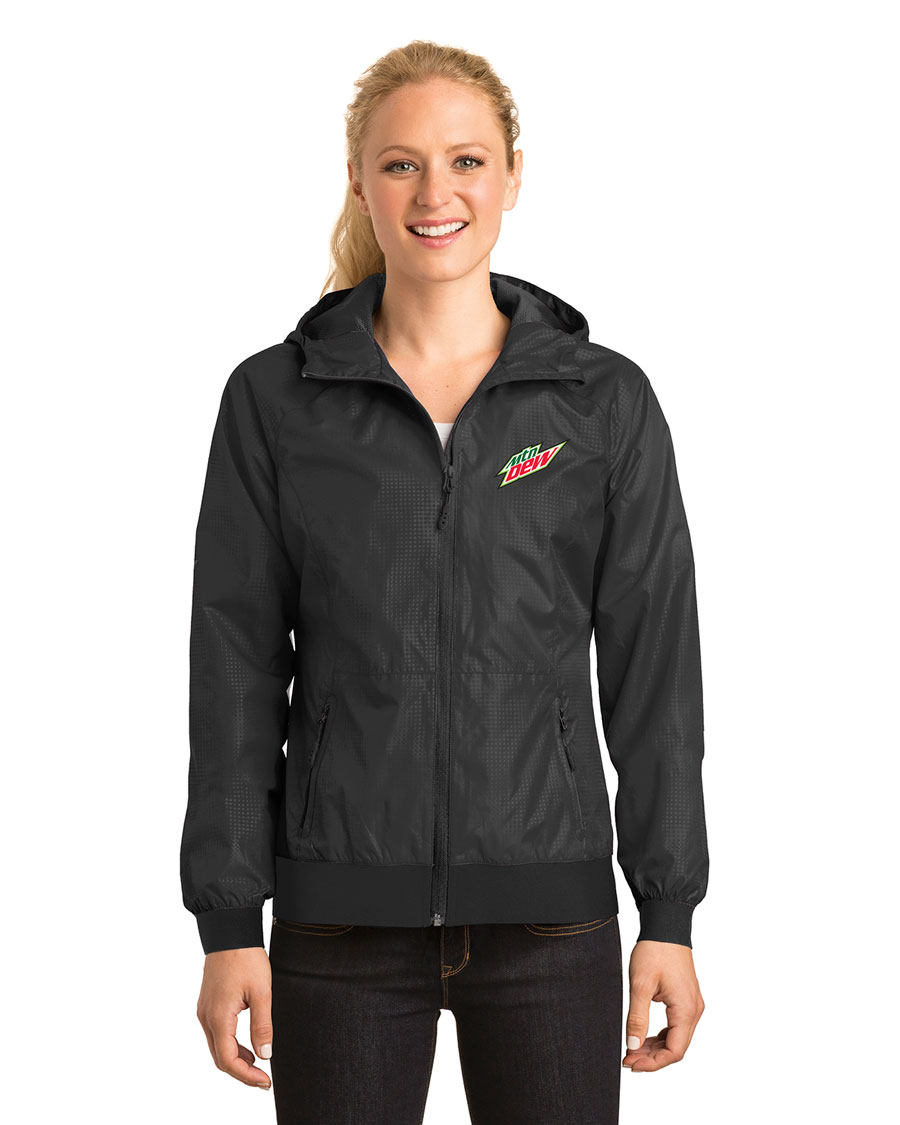 Ladies Embossed Hooded Wind Jacket - MTN Dew