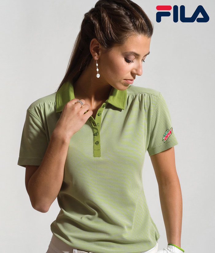 FILA Women's Sussex Textured Striped Polo - MTN Dew