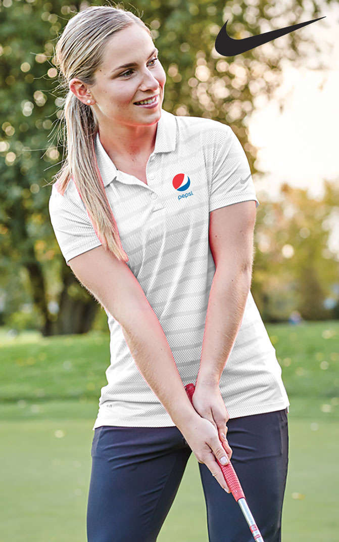 Ladies' Nike Dry Striped Polo - Pepsi