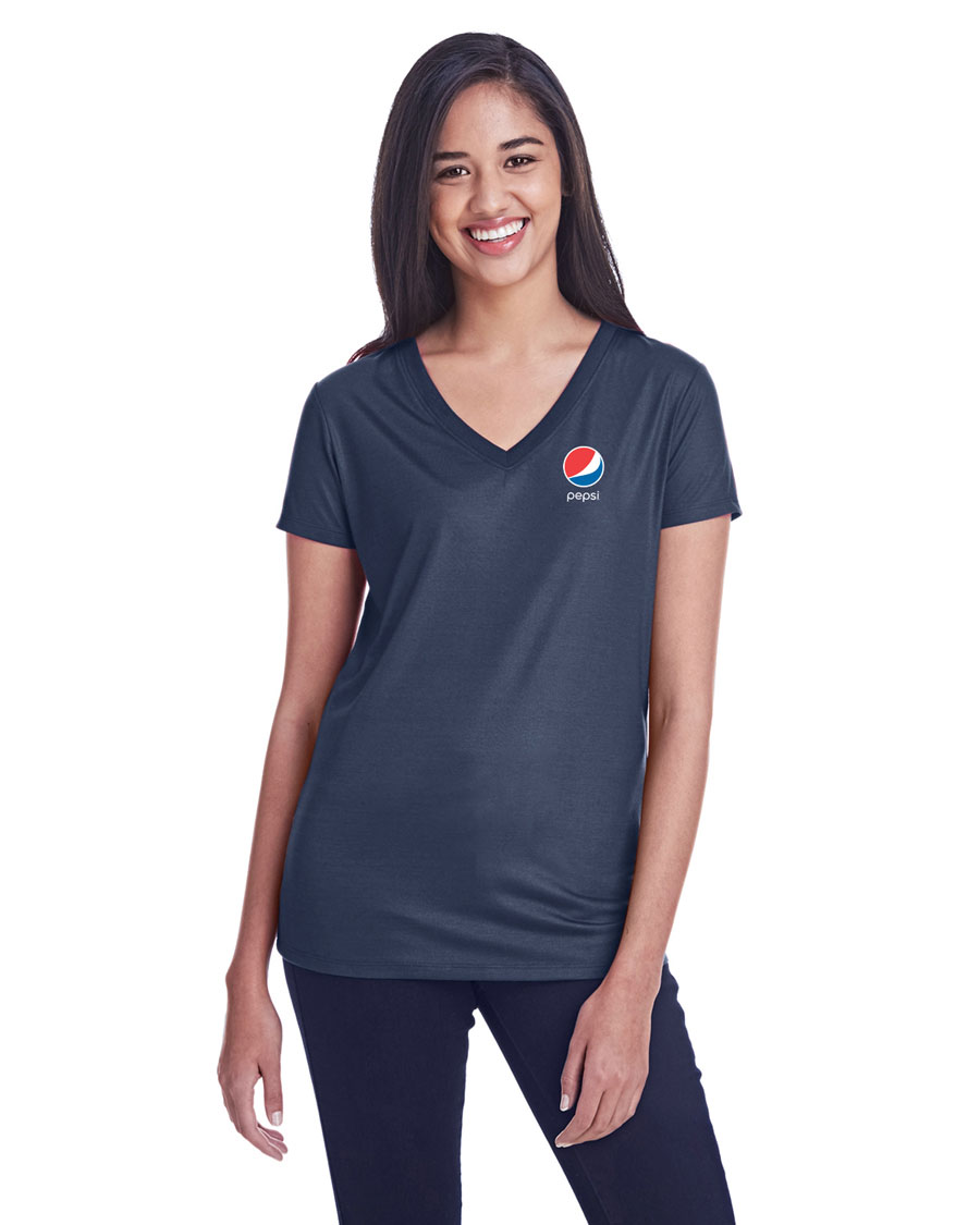 Ladies' Liquid Jersey V-Neck T-Shirt - Pepsi