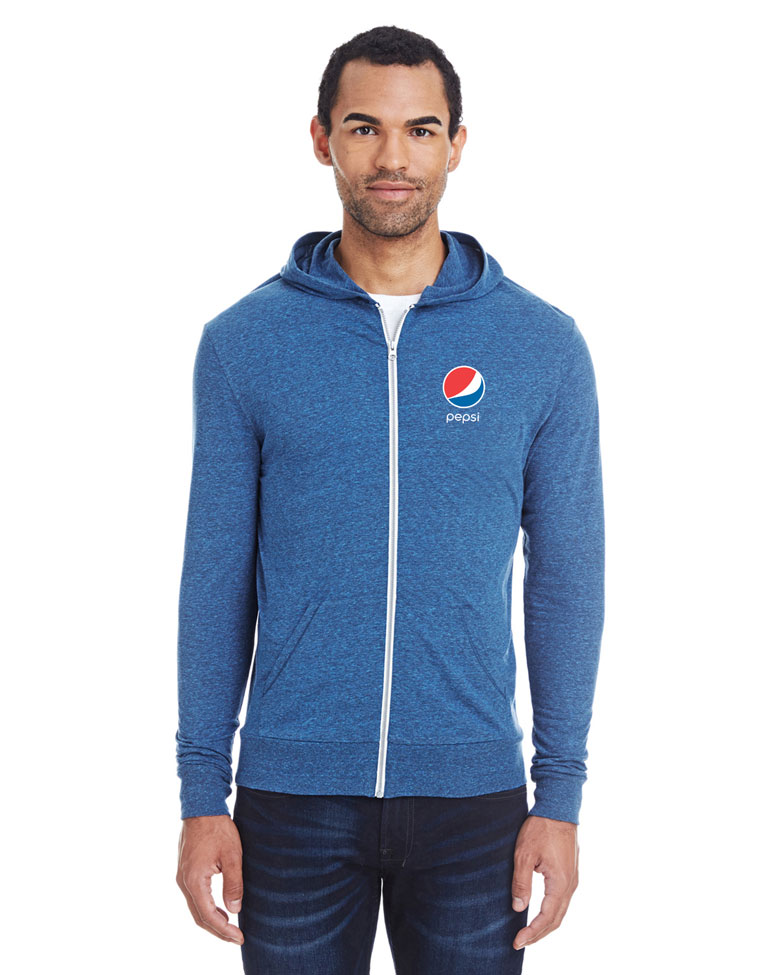 Unisex Triblend Full-Zip Light Hoodie - Pepsi