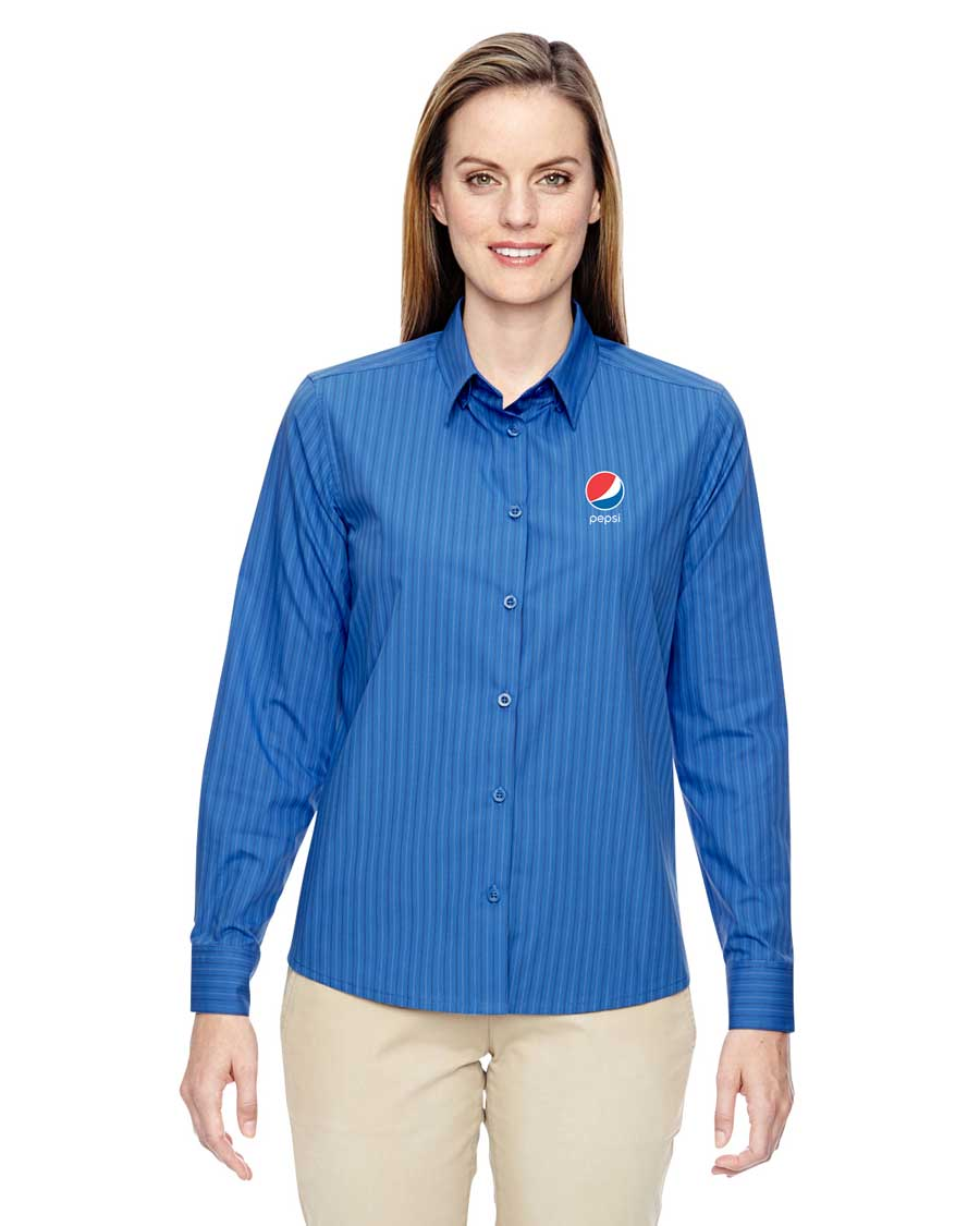 Ladies' Align Wrinkle-Resistant Cotton Blend Dobby Vertical Striped Shirt- Pepsi