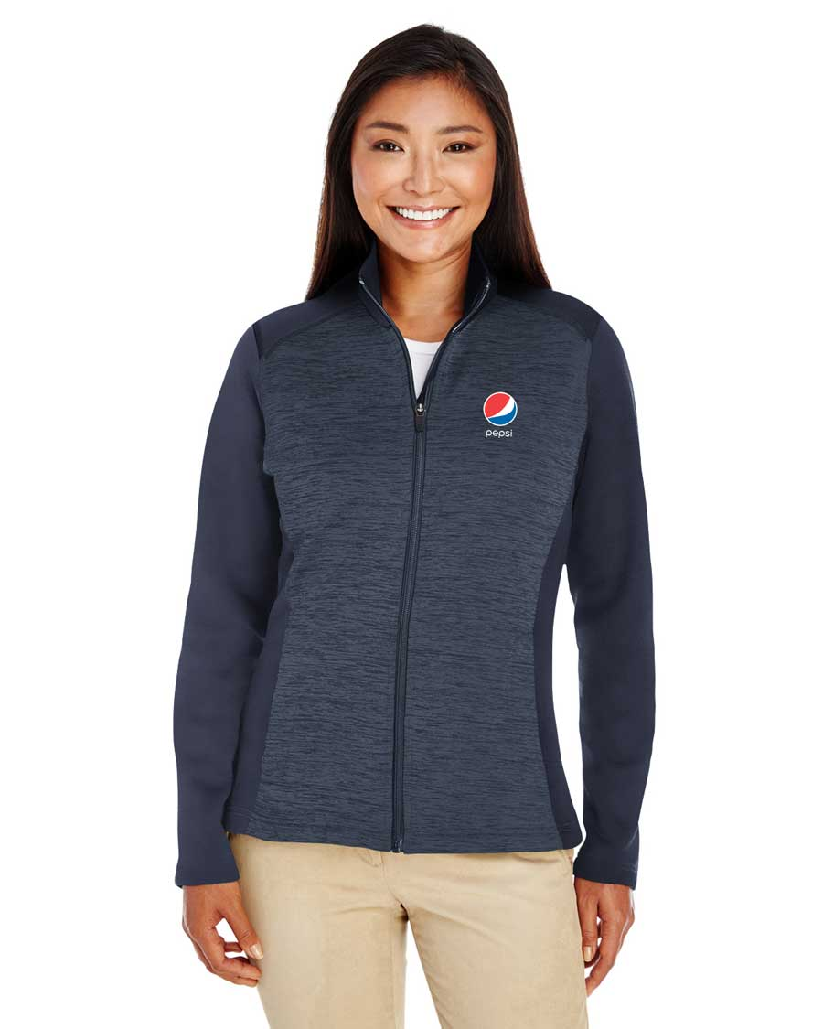 Ladies' Newbury Colorblock Mélange Fleece Full-Zip - Pepsi