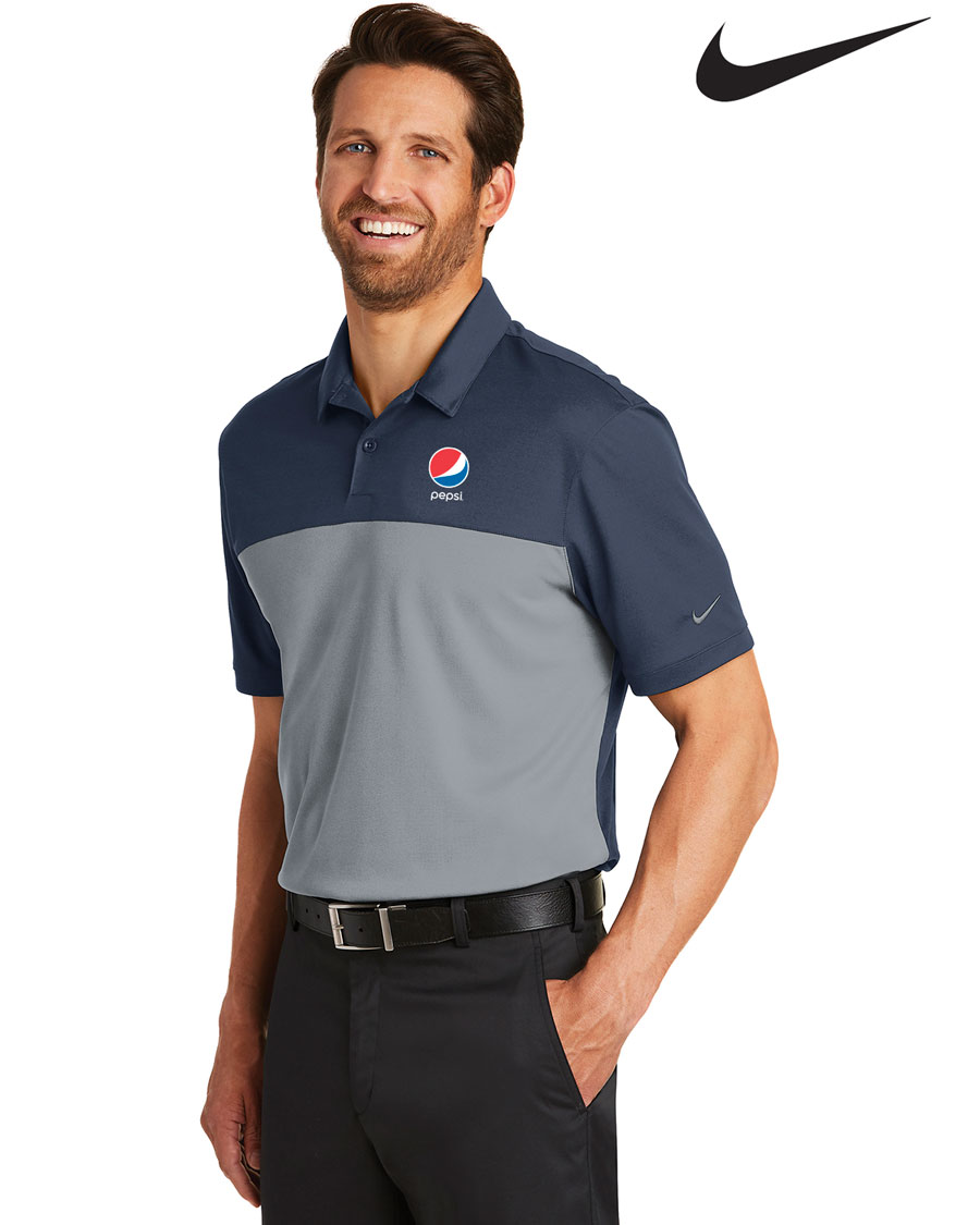 Nike Men's Golf Dri-FIT Colorblock Micro Pique Polo Pepsi