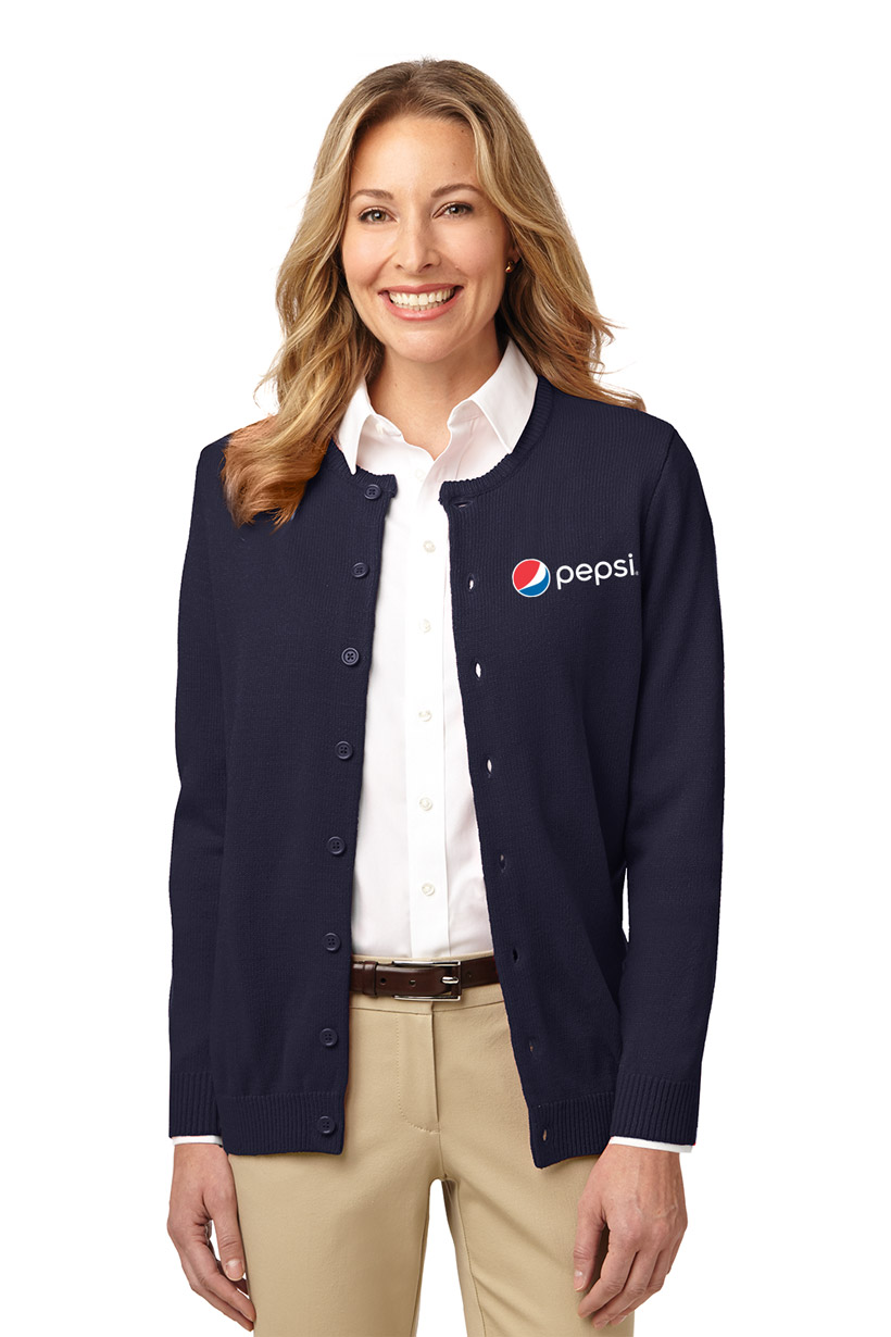 Ladies' Value Jewel-Neck Cardigan Sweater Pepsi