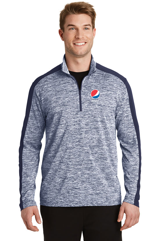 Men's PosiCharge® Electric Heather Colorblock 1/4-Zip Pullover - Pepsi