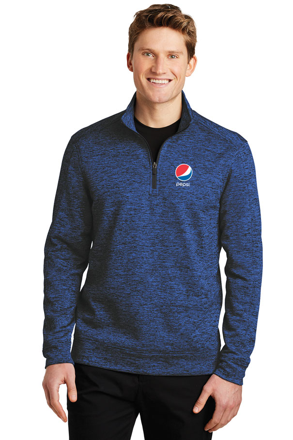 Men's PosiCharge® Electric Heather Fleece 1/4-Zip Pullover - Pepsi