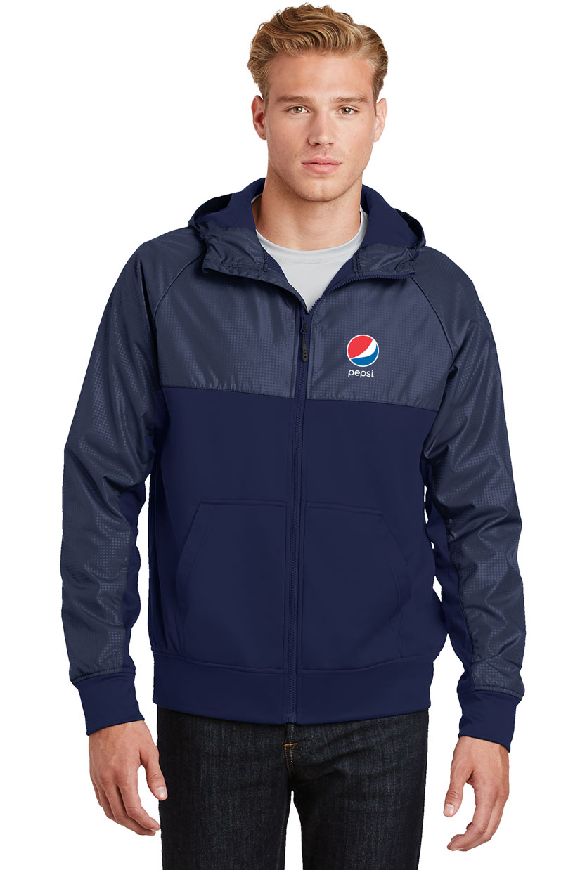 Men's Embossed Hybrid Full-Zip Hooded Jacket - Pepsi