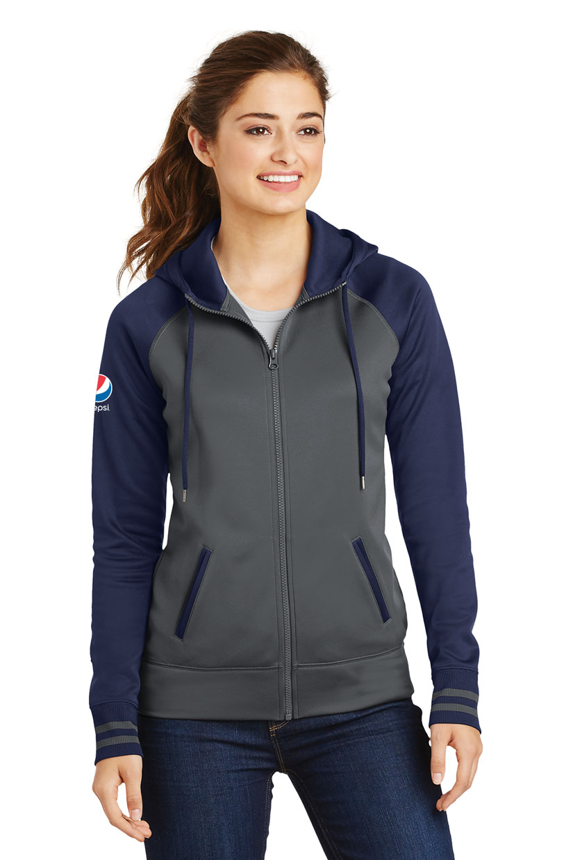Ladies Sport-Wick® Varsity Fleece Full-Zip Hooded Jacket - Pepsi