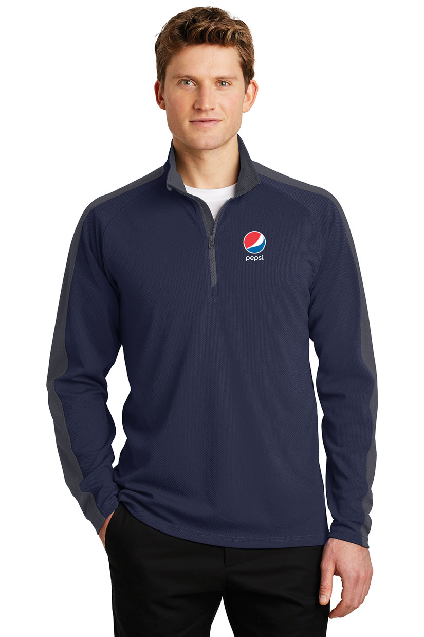 Men's Sport-Wick® Textured Colorblock 1/4-Zip Pullover - Pepsi