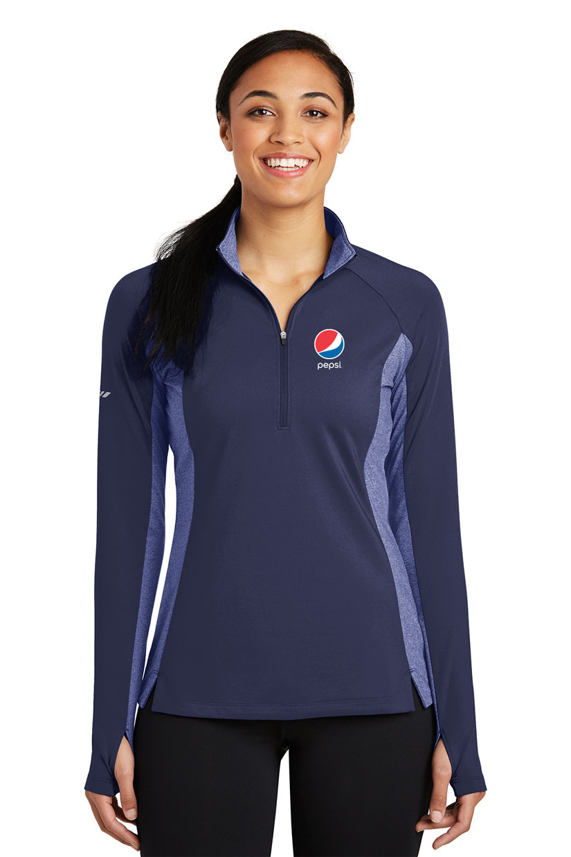 Ladies Sport-Wick® Stretch Contrast 1/2-Zip Pullover - Pepsi