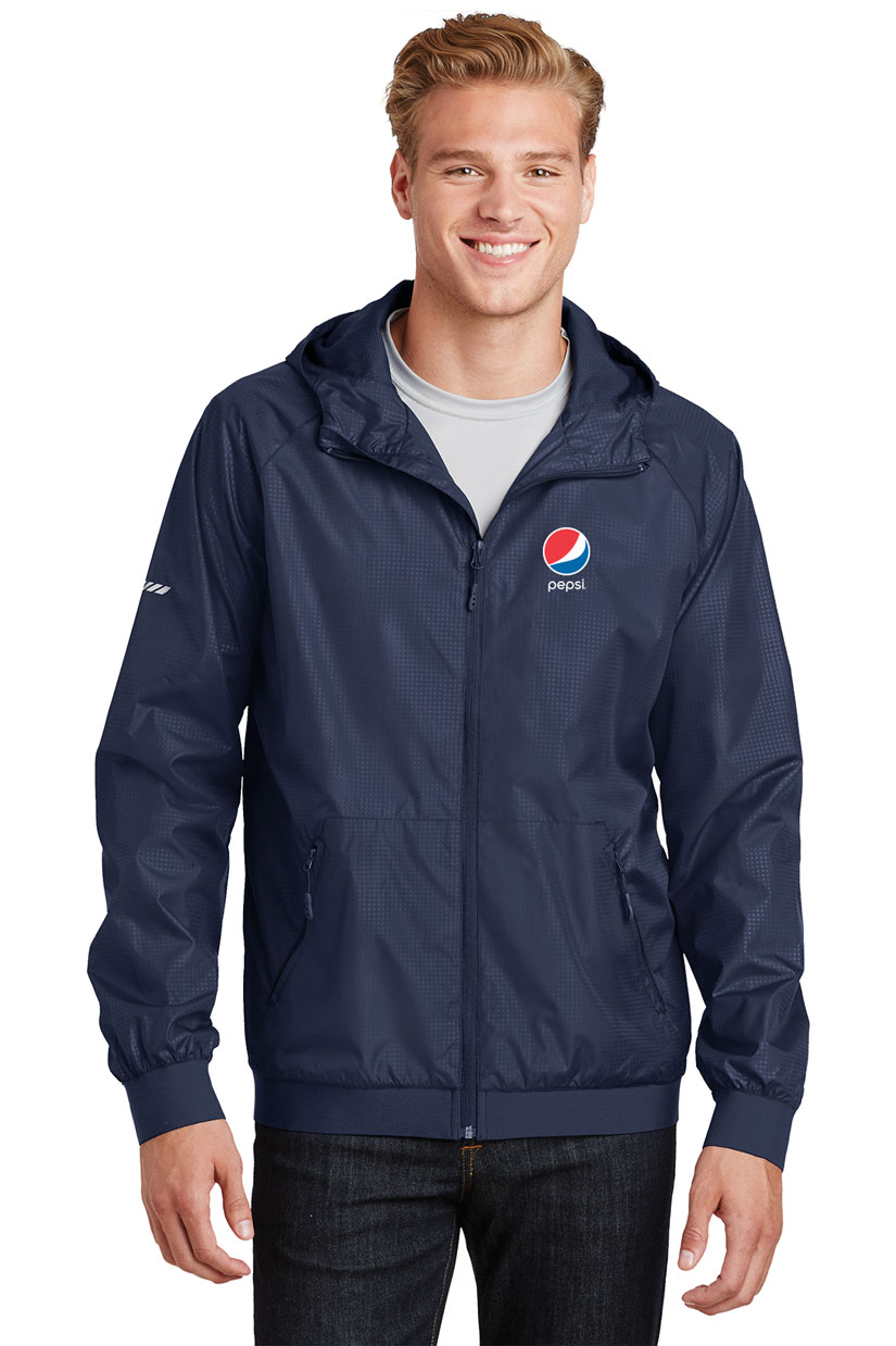 Men's Embossed Hooded Wind Jacket - Pepsi