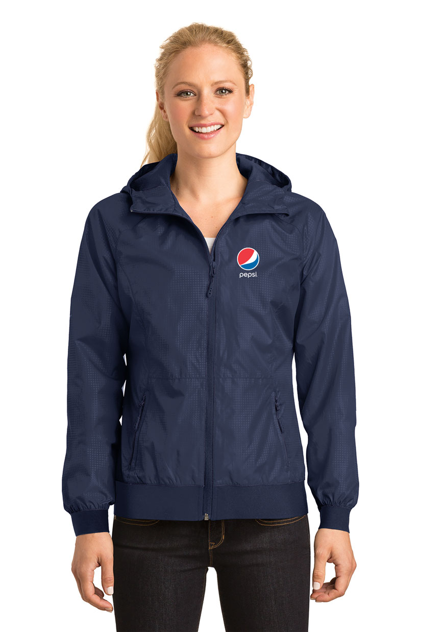Ladies Embossed Hooded Wind Jacket - Pepsi