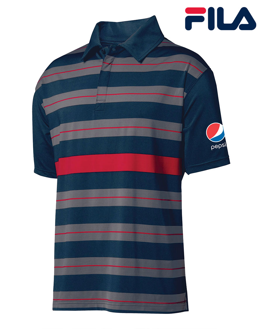 FILA Men's Bristol Engineered Striped Polo - Pepsi