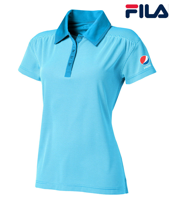 FILA Women's Sussex Textured Striped Polo - Pepsi