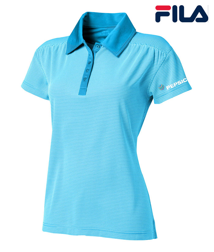 FILA Women's Sussex Textured Striped Polo - Pepsico