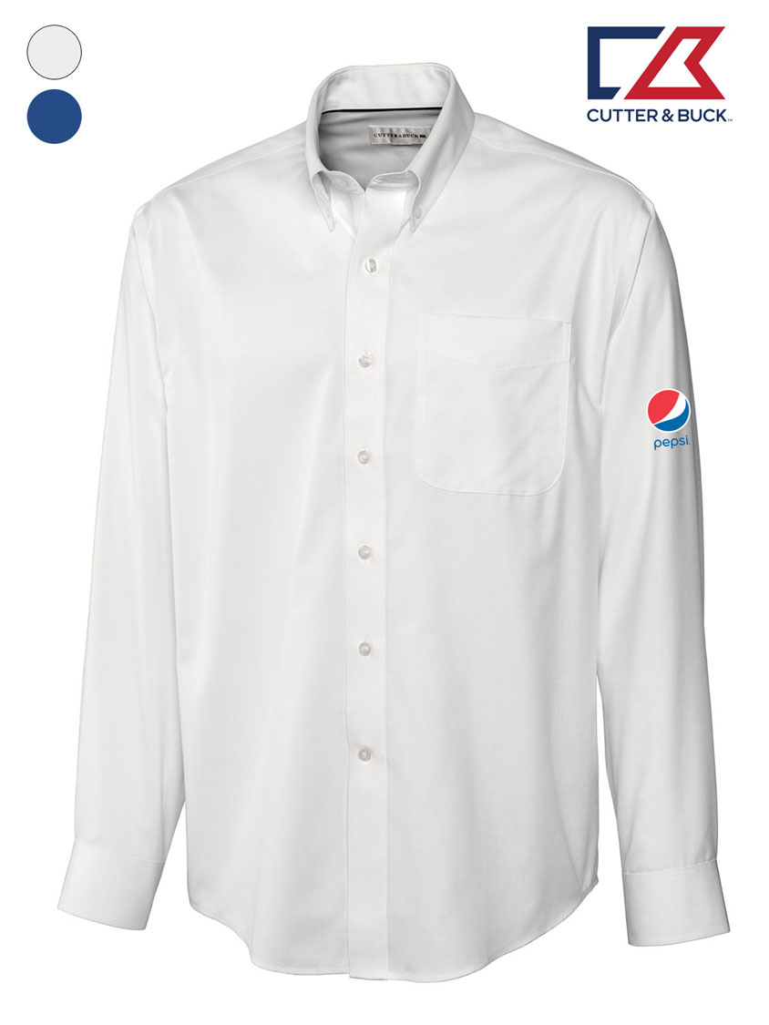 Cutter & Buck Men's L/S Epic Easy Care Fine Twill Shirt - Pepsi