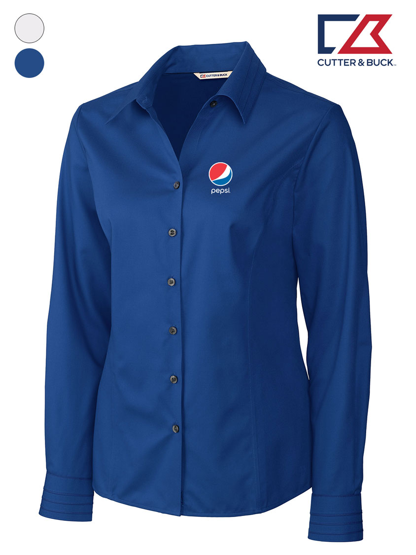 Cutter & Buck Ladies' L/S Epic Easy Care Fine Twill - Pepsi