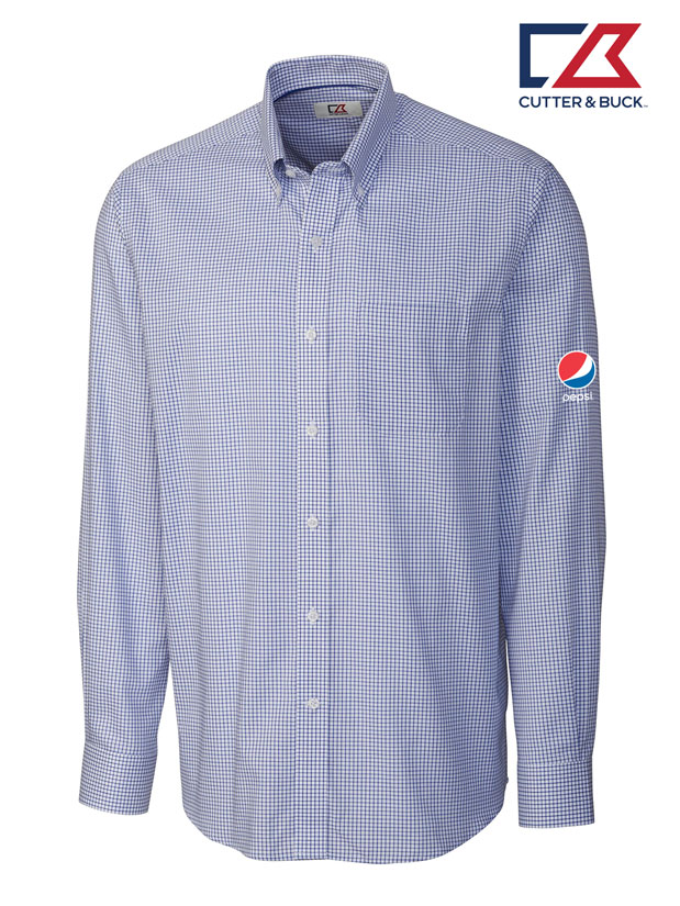 Cutter & Buck Men's L/S Epic Easy Care Tattersall Shirt - Pepsi