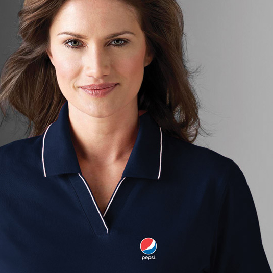 Ladies' Polo w/ Pencil Stripe - Pepsi