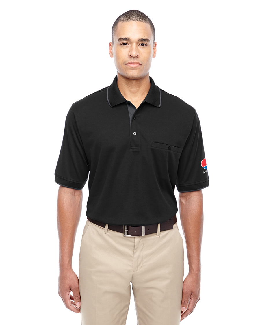 Men's Motive Performance Pique Polo with Tipped Collar - Pepsi