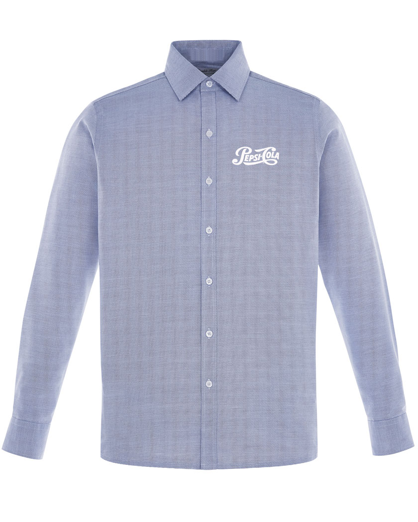Sport Blue Precise Wrinkle-Free Two-Ply 80's Cotton Dobby Taped Shirt