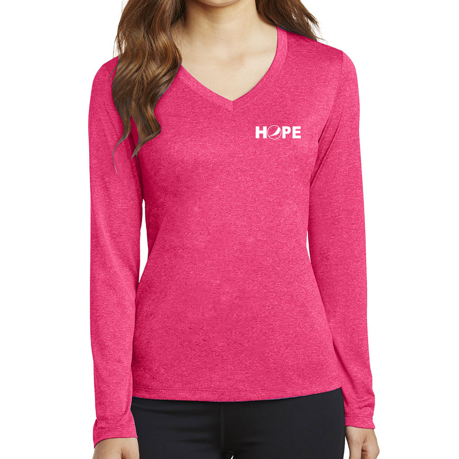 Ladies' Long Sleeve Heather Contender™ V-Neck Tee - HOPE