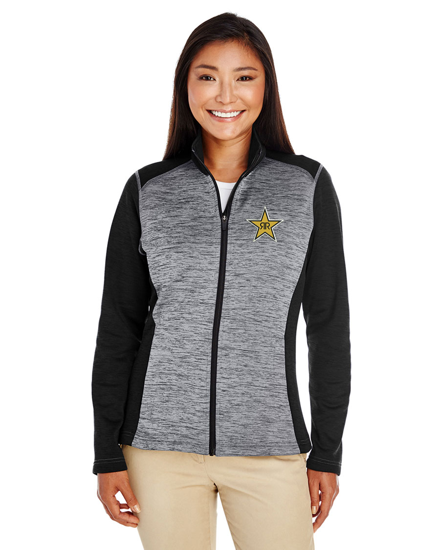 Ladies' Newbury Colorblock Mélange Fleece Full-Zip - Rockstar
