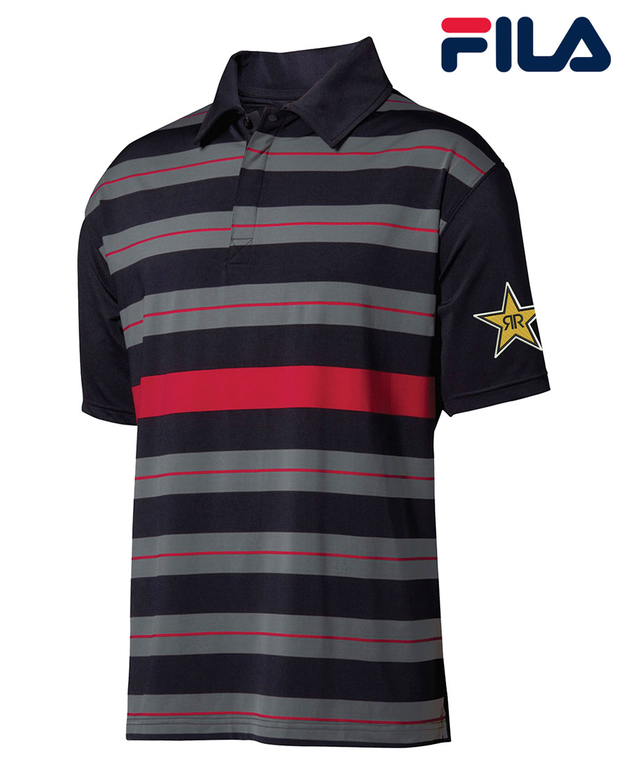 FILA Men's Bristol Engineered Striped Polo - Rockstar