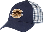 Deluxe Chino Twill / Cotton Plaid 6 Panel Constructed Contour Cap - Movember