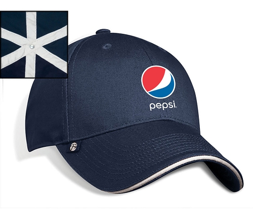 Structed Chino Twill Contrasting Sandwich Cap - Pepsi