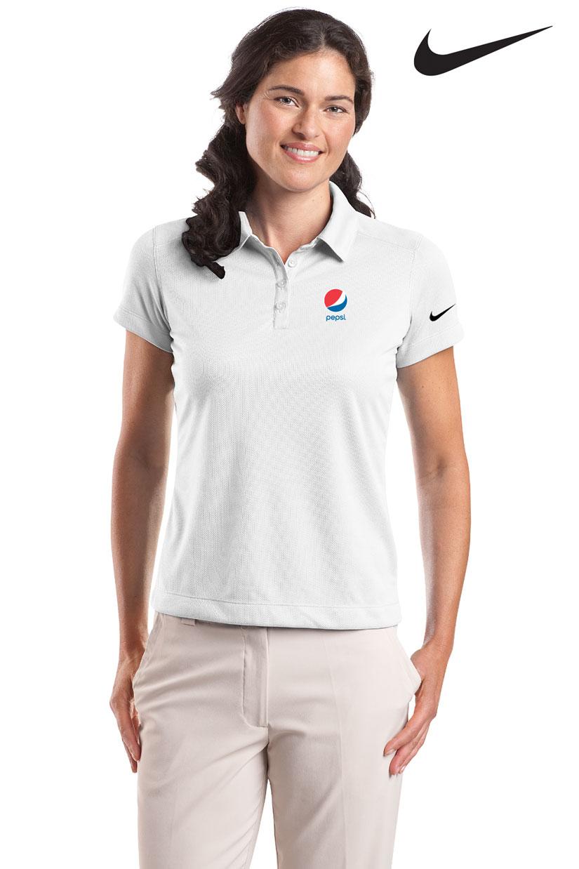 Nike golf ladies 39 dri fit pebble texture polo pepsi for Name brand golf shirts