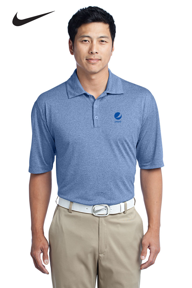 Men 39 s nike golf dri fit heather polo pepsi for Mens dri fit polo shirts wholesale