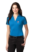 Ladies Silk Touch™ Performance Colorblock Stripe Polo - Pepsi