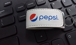 8GB Magnetic USB Leather Keychain - Pepsi