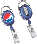 Retractable Badge Reel (Carabiner Style) - Pepsi