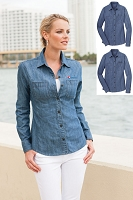 Ladies Denim Shirt with Patch Pockets
