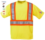 High Visibility 100% polyester Wicking Shirt with Contrasting Color Stripes
